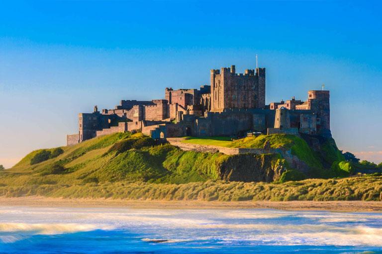 bamburgh castle on a sunny day