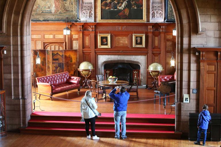 people looking inside bamburgh castle