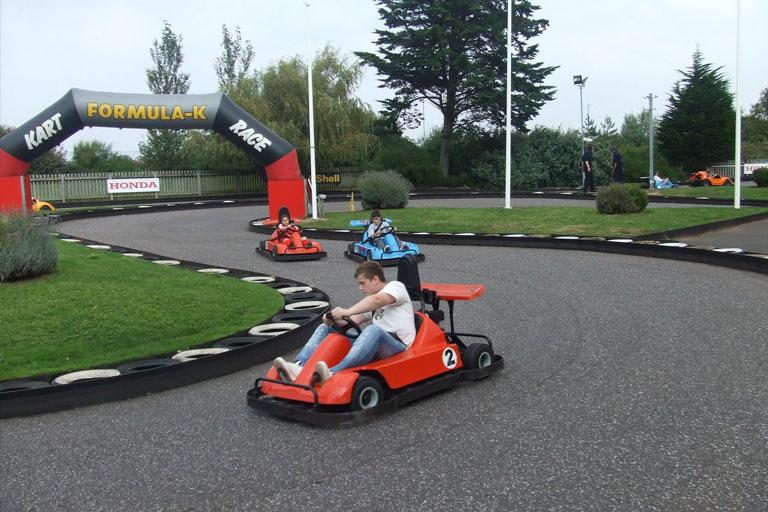 kids in go karts at butlins