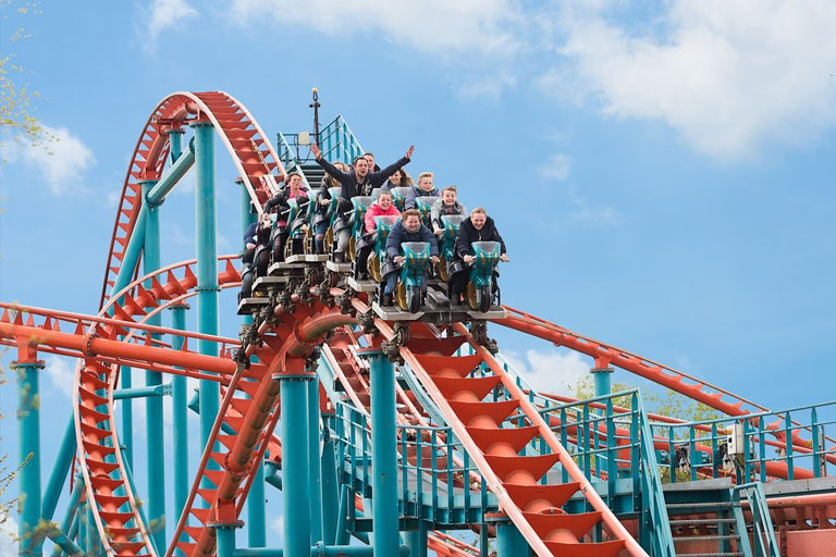 red and blue rollercoaster