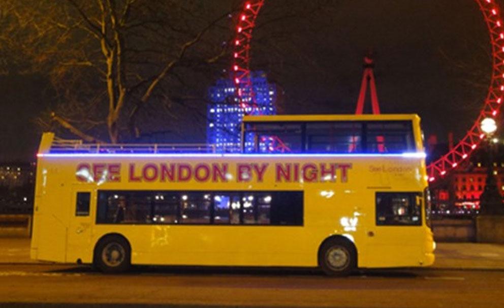 london by night bus